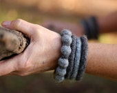 Funky Felt Bracelet Set in Two Shades of Grey