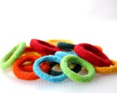Kid's Bracelet, Colorful Felt Bangle, Hand-Felted Wool