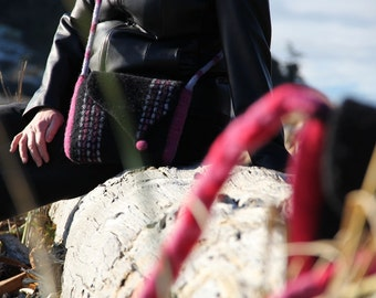 Felted Wool Handbag, Spring Messenger Tote (black and pink)