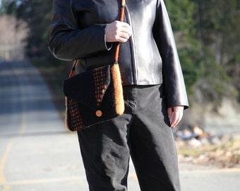 Felted Messenger Bag, Medium Tote (black and orange)