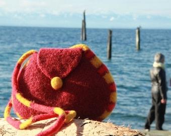 Felted Wool Purse, Long Strap Shoulder Bag (garnet red)
