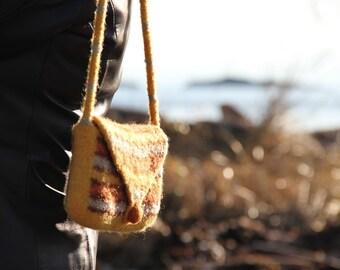 Felt Bag, Rectangular Felt Purse (brown / gold / sienna)