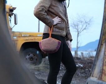 Whimsey Wool Handbag, Slip-Strap Clutch (taupe, purple, orange)