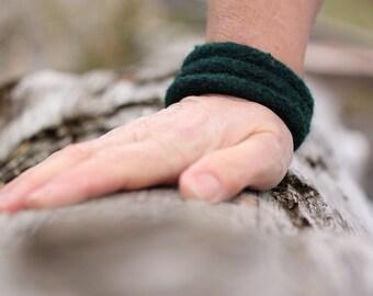 Felt Bracelet, Felt Bangle (dark green)