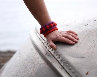 Felt Bracelet Cuff Combo (purple and orange)
