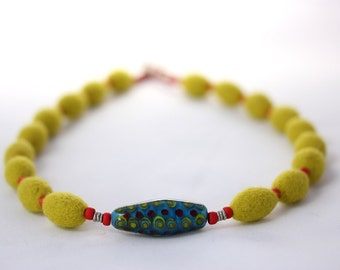 Felt Necklace with Lampwork Glass Bead (pale olive green / red / blue)