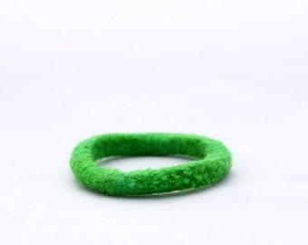 Kid's Bracelet, Felt Bangles in Emerald Green