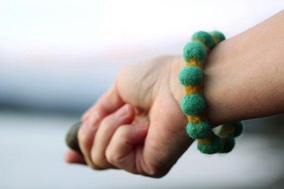 Boiled Wool Felt Bracelet, Two-Tone Bumpy Bangle (teal green / honey mustard yellow)