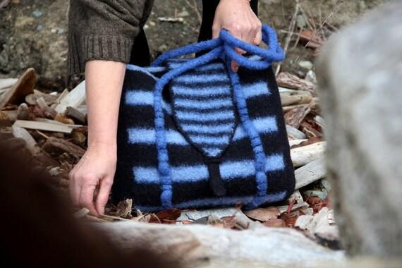 Felt Tote Bag, Large Felt Handbag (bright blue and black) with Interior Pockets