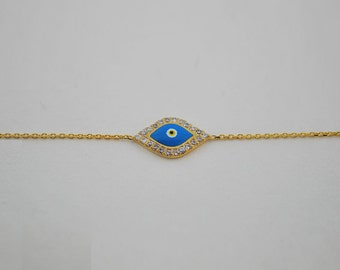 Free Domestic Shipping Silver Gold Color Light Blue Evil Eye Bracelet