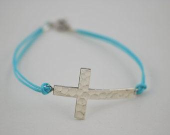 Free Domestic Shipping Sterling Silver Sideways Cross Bracelet Black, Blue, Hammered, Handmade, Cross, Religious, Love, Bracelet, Unique
