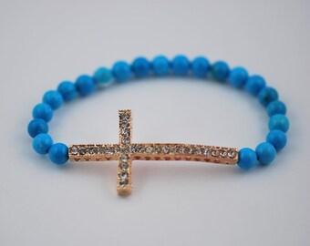 Free Domestic Shipping Turquoise Rose Gold Sideways Cross Bracelet Pink, Rose, Gold, Blue, Modern, Contemporary, Cross, Religious, Bracelet