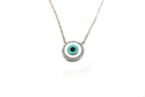 Free Domestic Shipping Sterling Silver Mother of Pearl Evil Eye Necklace Pearls, Blue, Round, Evil, Eye, CZ, Unique, Modern, Simple Necklace