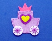 2 pcs - Handmade princess carriage felt appliques (G058-B)
