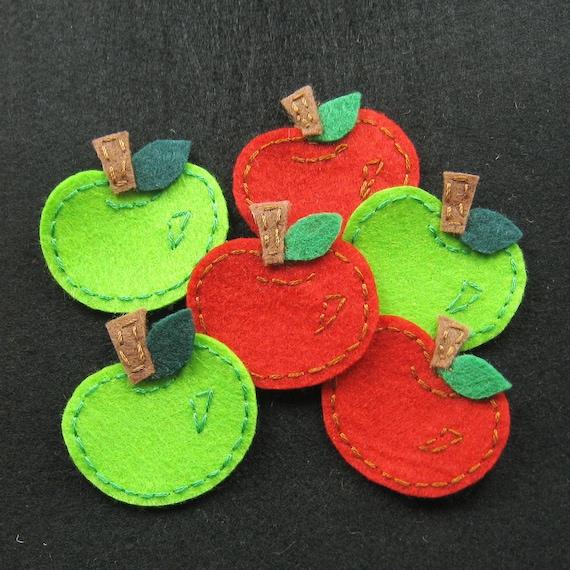 Handmade apple felt appliques - assorted set of 8 pcs (A144-Ass)