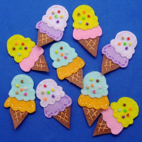 Handmade ASSORTED ice cream cone felt appliques - set of 12 pcs (G006-Ass)