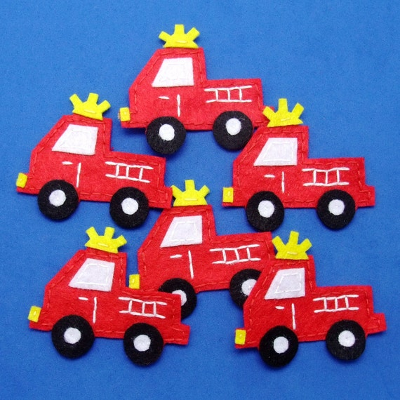 Handmade fire engine felt appliques - set of 6 pcs (G060)