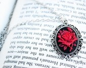 Antique Silver Cameo Pendant Necklace - Red Rose on Black