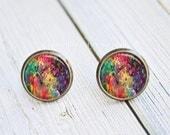 Antique Bronze Stud Earrings - Abstract Rainbow Splatter Design