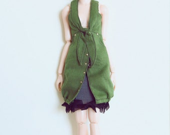 RYBG Creation - Army Green long Vest Dress Shirts Momoko or Nippon or Blythe