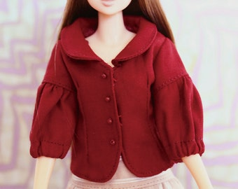 RYBG Creation - dark red coat Momoko or Nippon or Blythe