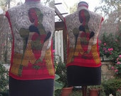 Valenti vintage crinkle pullover with Picasso like image