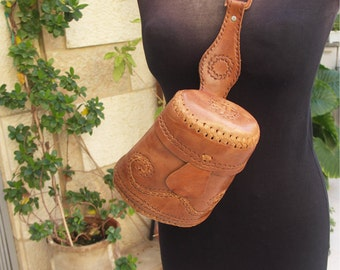Unique vintage handmade mustard colored barrel shoulder bag