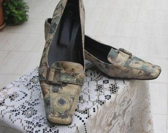 L. Lambertazzi vintage floral snakeskin leather pumps