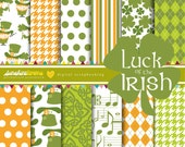 Luck of the Irish St. Patrick's Day Digital Paper Pack - Set of 12 Papers - COMMERCIAL USE Read Terms Below