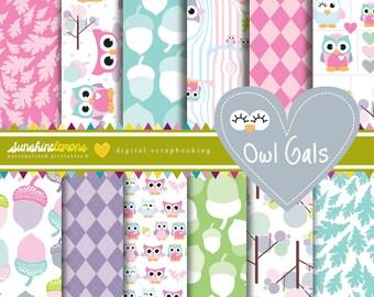 Owl Gals - Pink Baby Owls Digital Scrapbooking Paper Set