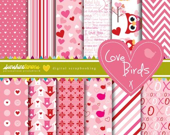Love Birds Digital Scrapbooking Paper - COMMERCIAL USE Read Terms Below