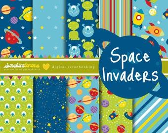 Space Invaders Digital Scrapbooking Paper Set - COMMERCIAL USE Read Terms Below