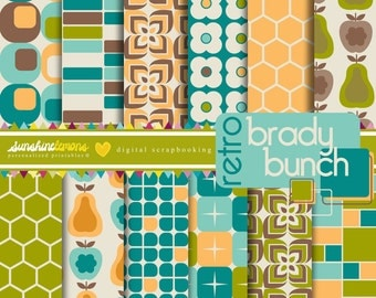 Retro Brady Bunch Digital Paper Pack - Set of 12 Paper - COMMERCIAL USE Read Terms Below