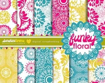 Funky Floral Digital Paper Pack - Set of 12 Papers - COMMERCIAL USE Read Terms Below