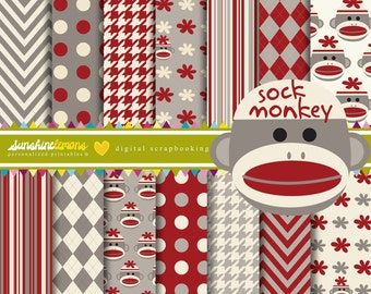 Sock Monkey Digital Paper Pack - Set of 14 Papers