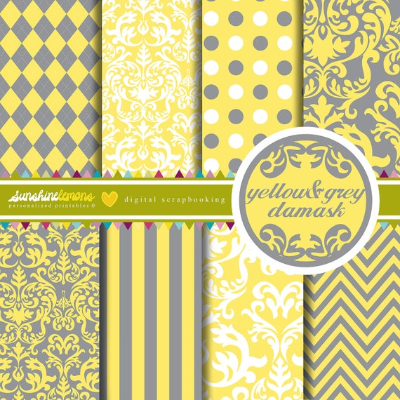Yellow and Grey Damask Digital Scrapbooking Paper Set - COMMERCIAL USE Read Terms Below