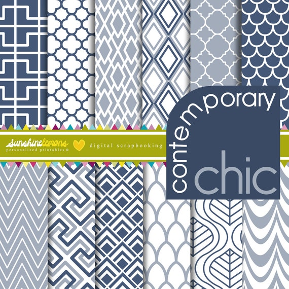 Contemporary Chic Digital Scrapbooking Paper Set - COMMERCIAL USE Read Terms Below