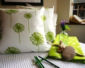 Bright Lime Green and White Cushion