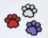 2X Beaded Paw Print Pendants (any colour)