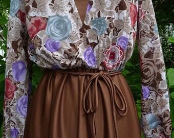 SALE Vintage Brown Dress with Sheer Floral Top