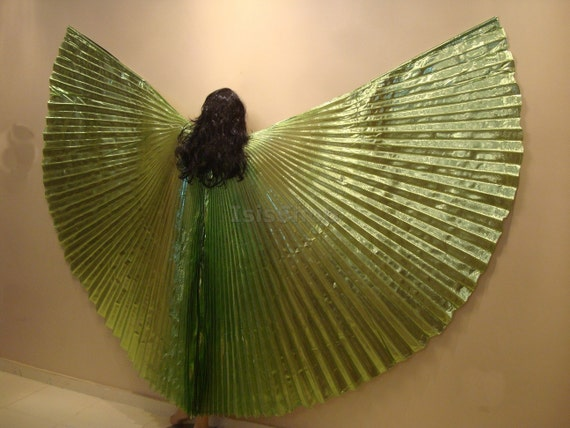 Pretty Green Lame Bellydance Costume ISIS WINGS