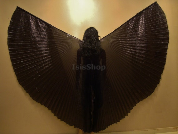 Pretty Egyptian Professional Black Lame Bellydance Costume ISIS WINGS