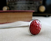Red Ceramic Silver Bookmark