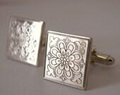 Silver Ottoman Square Cuff Links
