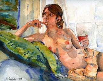 Female Nude Art, artistic nude PRINT from watercolor painting