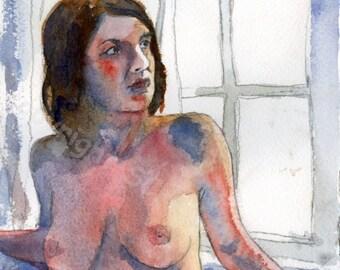 Art Nudes, Female Nude Art, artistic nude ORIGINAL watercolor painting