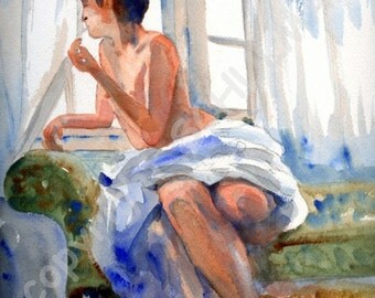 Nude Painting, Female Nude Art, Signed artistic nude PRINT from watercolor painting