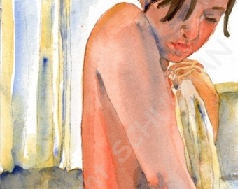 Female bather, Female Nude Art, artistic nude figure watercolor painting Signed PRINT