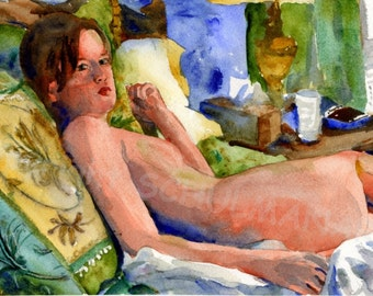 art nude, Female Nude Art, Signed artistic nude PRINT from watercolor painting