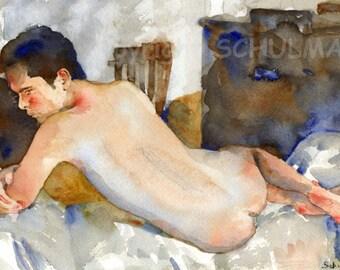 Reclining Male Nude Art, fine art print, artistic nude watercolor figure painting, Art Nudes